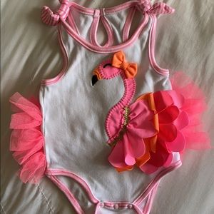 Mud Pie 3-6 month cute flamingo baby girl outfit